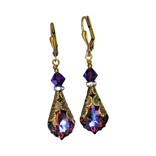Purple Earrings Vintage Inspired Baroque Crystal Jewelry Gift Box for Women