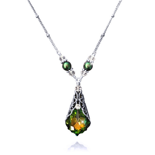 Green Crystal Pendant Necklace Antique Inspired with Jewelry Gift Box