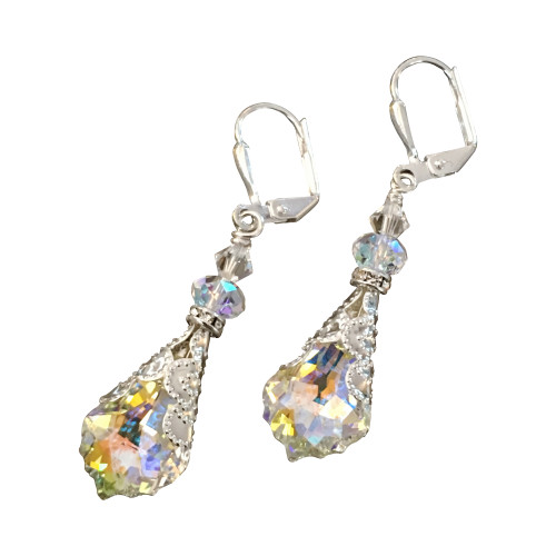 Aurora Borealis Baroque Crystal Vintage Filigree Earrings Jewelry for Women