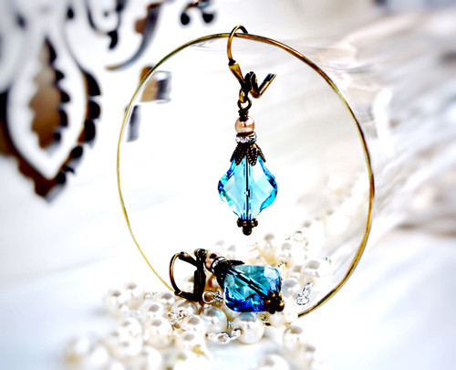 Pretty Aquamarine Blue Crystal Unique Earrings for Women Jewelry Gift