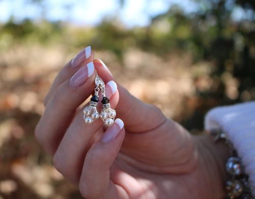 Pearl Cluster Earrings for Women – Dangling Pearl Earrings – Jewelry Gift Box