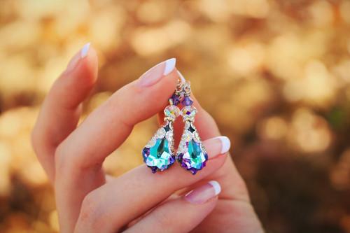 Vitrail Light Crystal Vintage Filigree Earrings Jewelry for Women