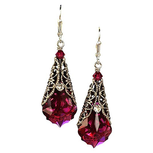 Romantic Red  Crystal Vintage Dangle Filigree Earrings Jewelry for Women