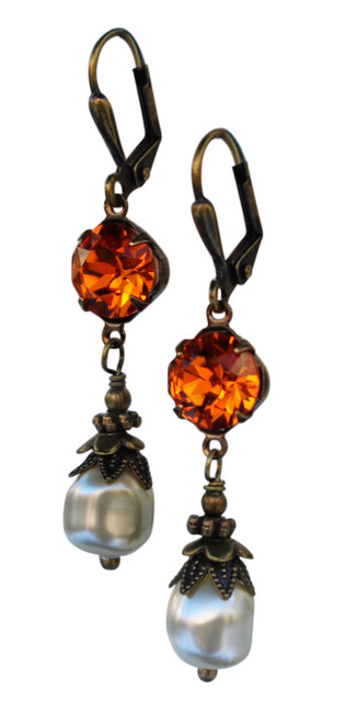 Vintage Crystal Earrings for Women with Coral and Pearl Jewelry Gift Box
