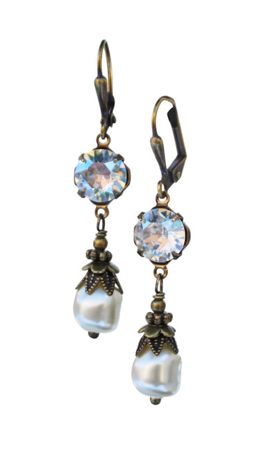 Crystal & Baroque Pearl April Birthstone Earrings with Crystal from Swarovski with Jewelry Gift Box