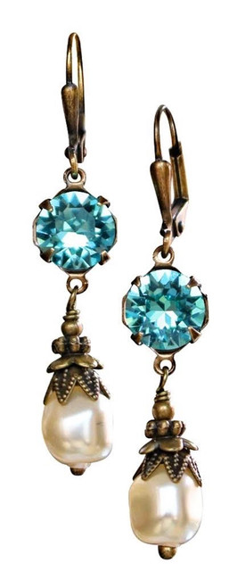Aquamarine Blue Crystal & Baroque Pearl March Birthstone Earrings with Crystal from Swarovski with Jewelry Gift Box