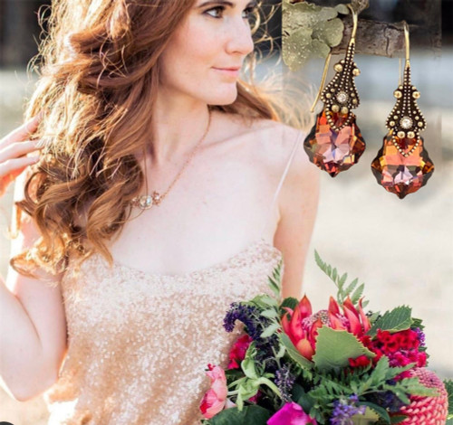 Chili Pepper Crystal Vintage Earrings for Women with Jewelry Gift Box