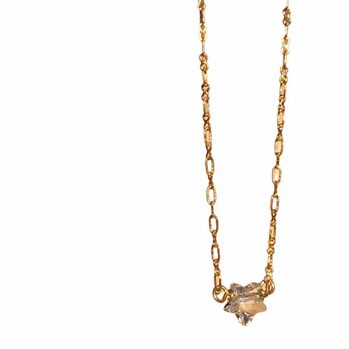 Star Crystal Necklace Gold tone Chain for Women with Jewelry Gift Box