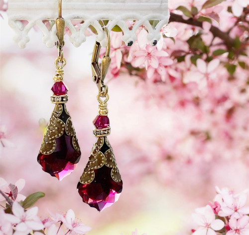 Antique Inspired Crystal Vintage - Victorian Drop Dangle Earrings for Women- Unique Jewelry Gift Box for Her (Red)