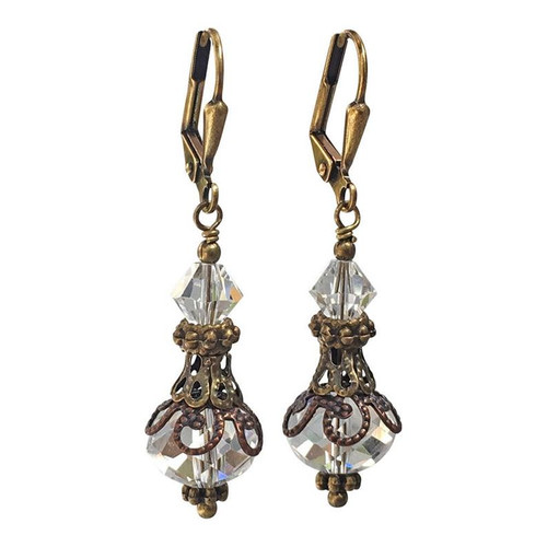 Vintage Bronze Crystal Dangle Earrings for Women with Jewelry Gift Box