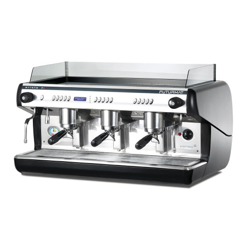 Superior Quality 3 Group Head coffee machine. Digitally controlled functions and quarter turn steam taps for ease of use. Optional automatic steam wand.
