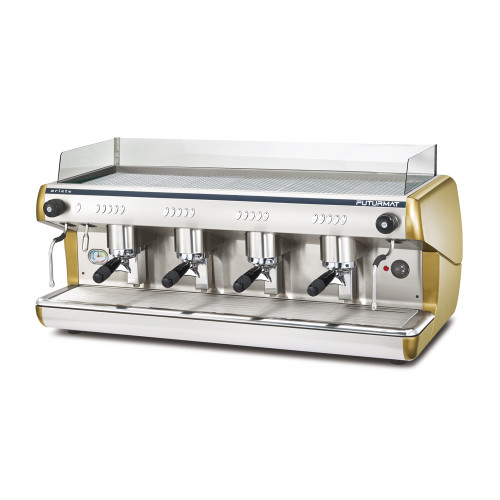 Superior Quality 4 Group Head Coffee Machine. Quarter turn steam knobs for ease.