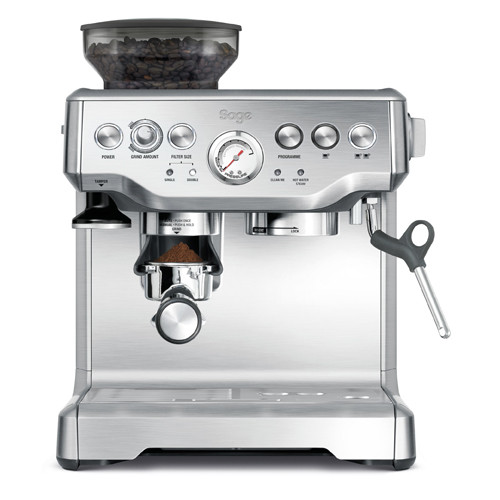 With conical burr grinder and dose control, this machine has 18 grind settings from course to fine for optimal espresso extraction. Silver