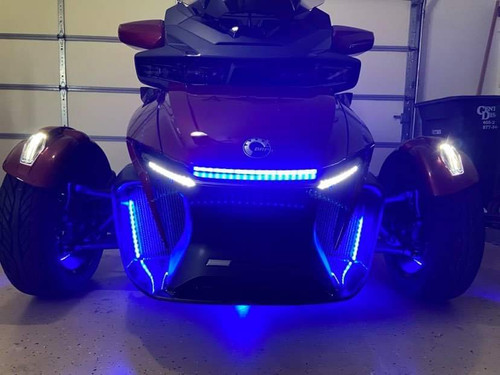 LED mounted inside the cowls of the grill