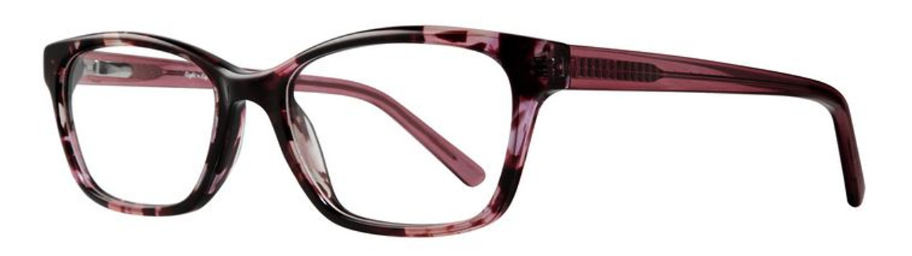 Square framed women's glasses in pink and purple tortoise patterns