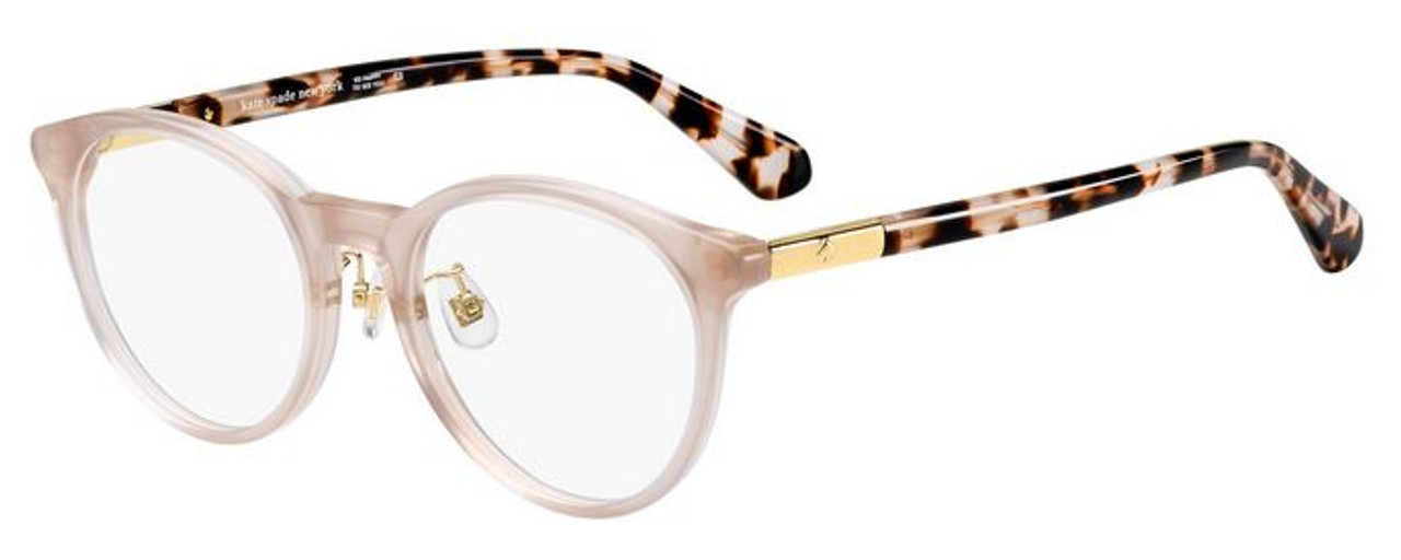 Kate Spade round frame women's glasses rose gold color with tortoise earpieces