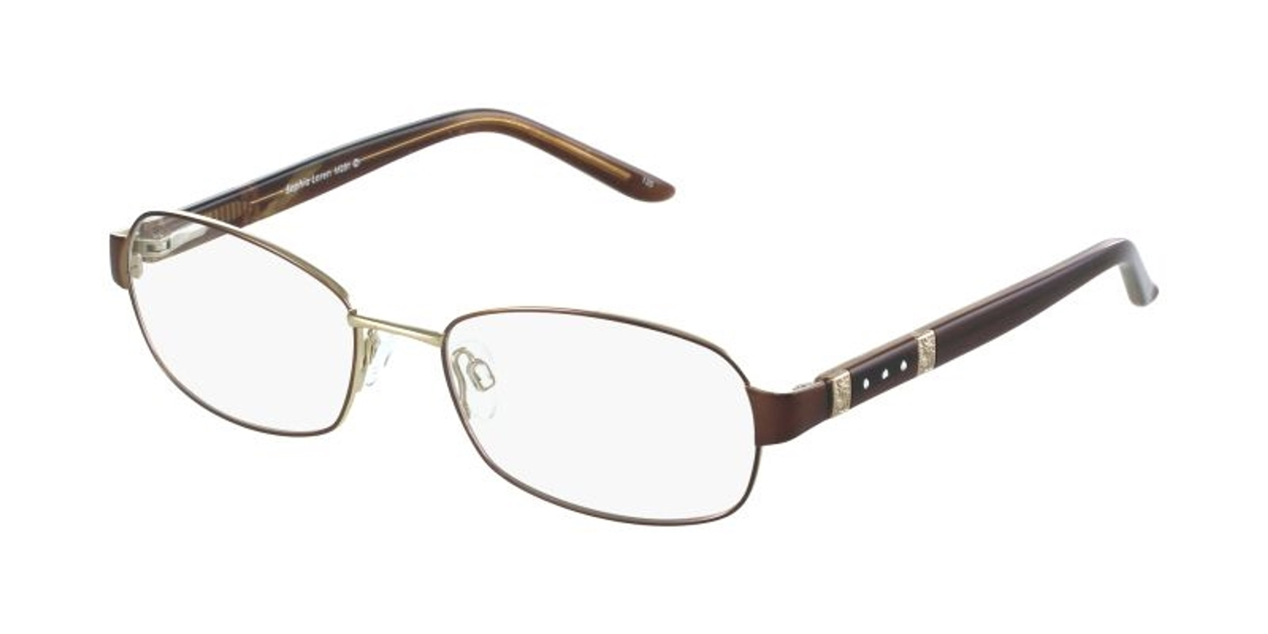 Narrow oval framed women's glasses in brown and gold color