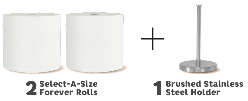 Starter Kit includes 2 Forever Roll refills and 1 Brushed Stainless Steel Holder