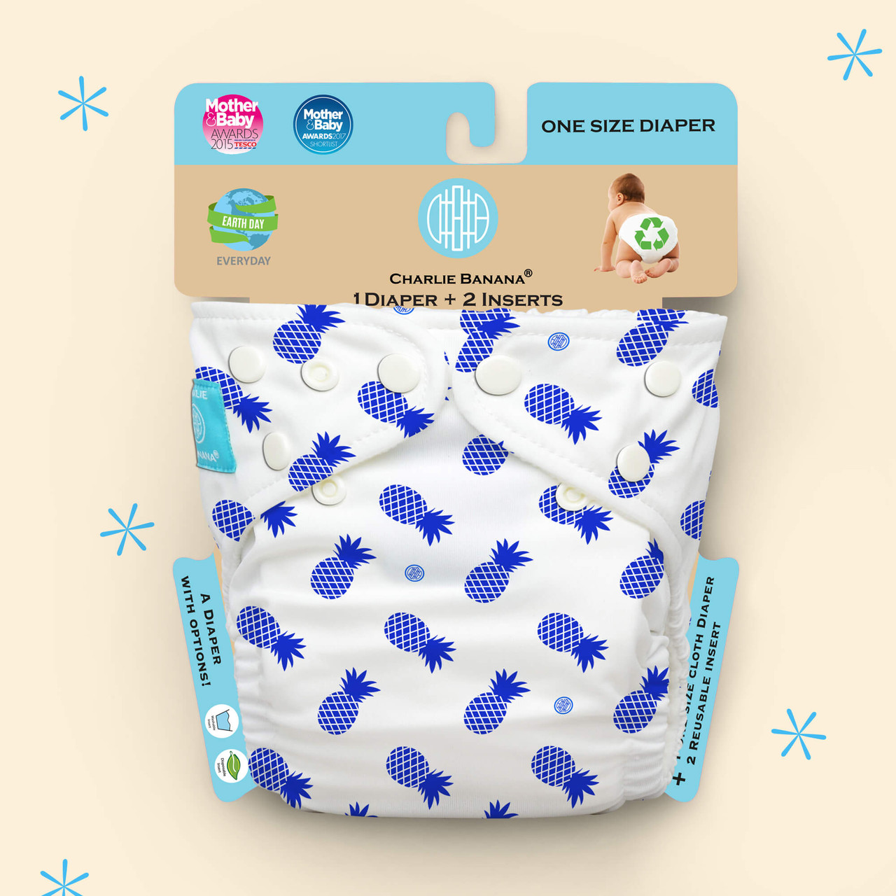 Free Size Cloth Diaper - Blue Pineapple