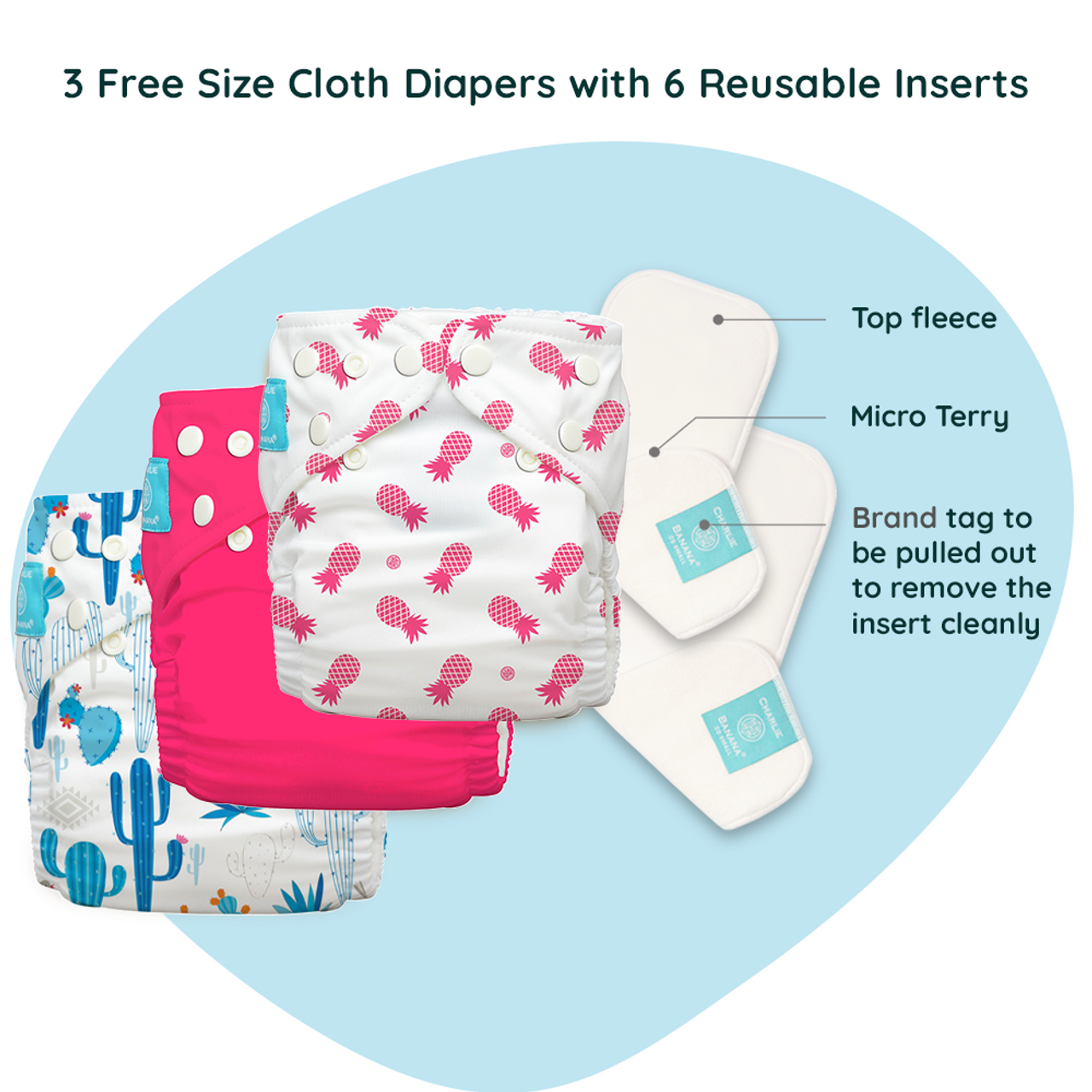 Free Size Cloth Diaper - Super Saver Pack of 3 - Pina Colada