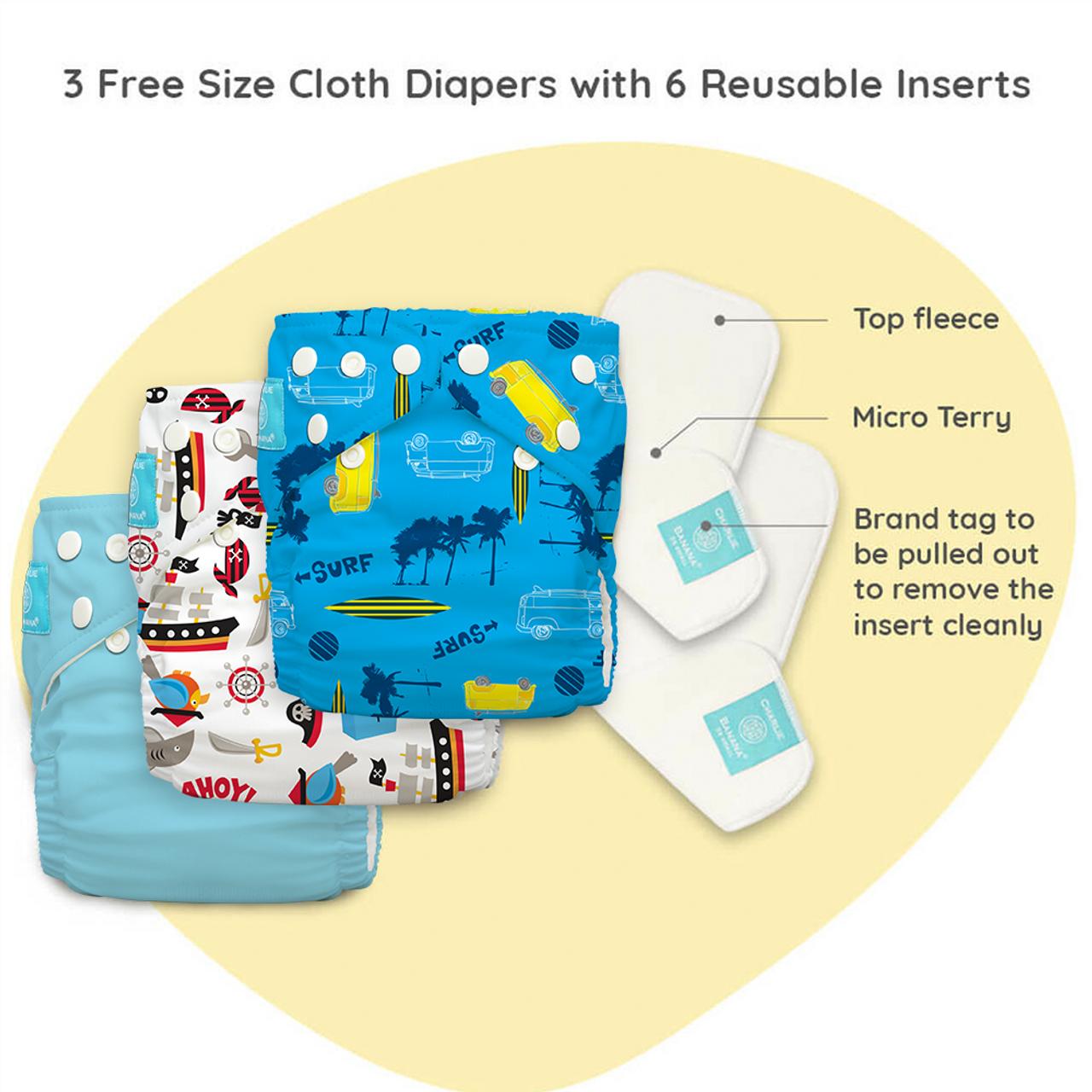 Free Size Cloth Diaper - Super Saver Pack of 3 - Oceana New