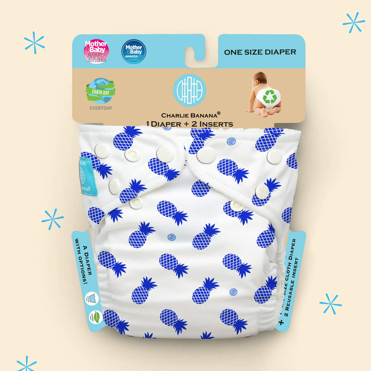 Free Size Cloth Diaper | Blue Pineapple