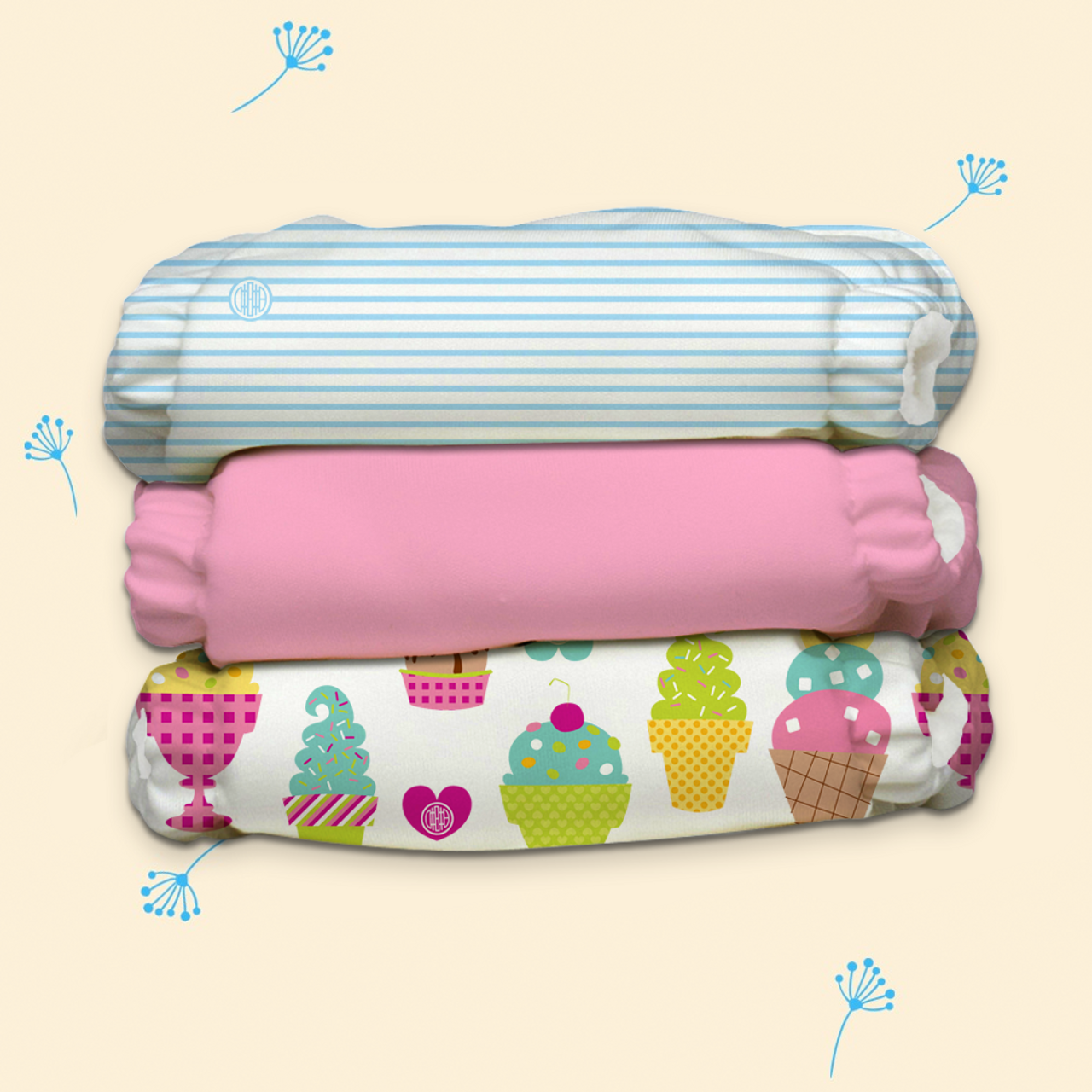 Free Size Cloth Diaper - Super Saver Pack of 3   Cotton Candy New