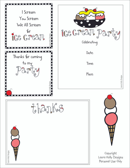 Ice Cream Themed Party Printable