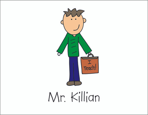 Male Teacher Fold Over Note Cards  - Quantity 50