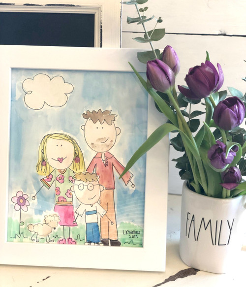 Watercolor Family Custom 8 x 10 FRAMED