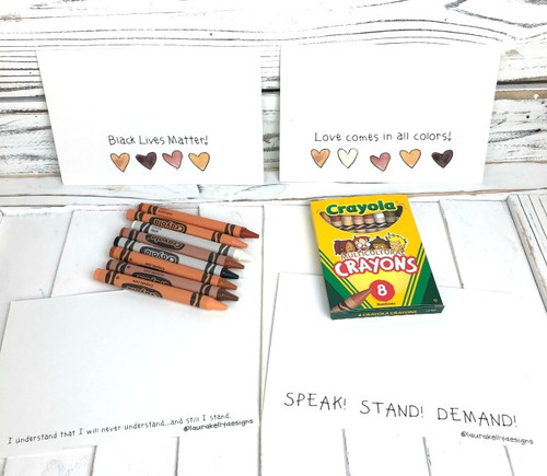 Antiracism Post Cards - Pack of 8 with Crayons