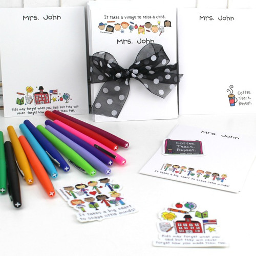 Back to School Note Card Set with Vinyl Stickers and FREE Flair Pens