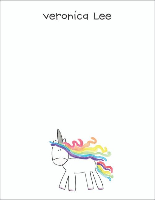 Small Flat Notes - Watercolor Unicorn