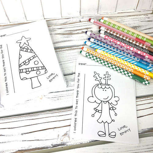 Coloring Christmas Thank You Notes