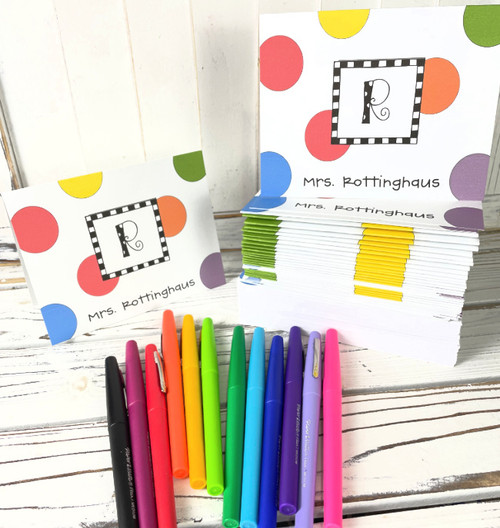 Note Card and Flair Pen Set Polka Dotted Monogram