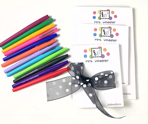 Memo Pad/Flair Pens BUNDLE Set - Polka Dotted Monogram