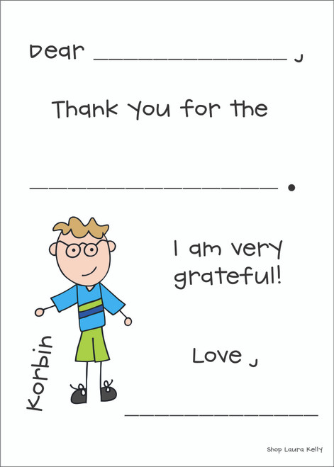 Kid Fill In Flat Note Cards Everyday - Qty 25