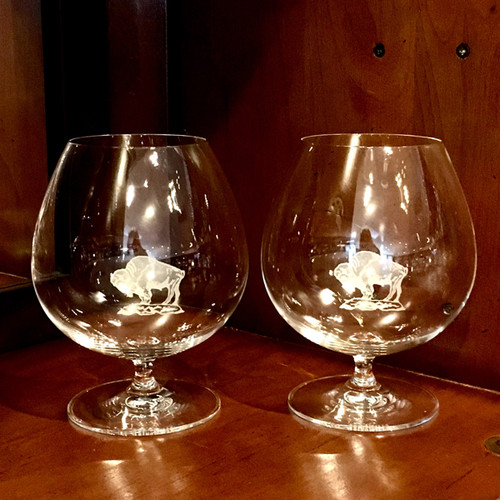 Riedel Brandy glass, etched with our buffalo on a rock design