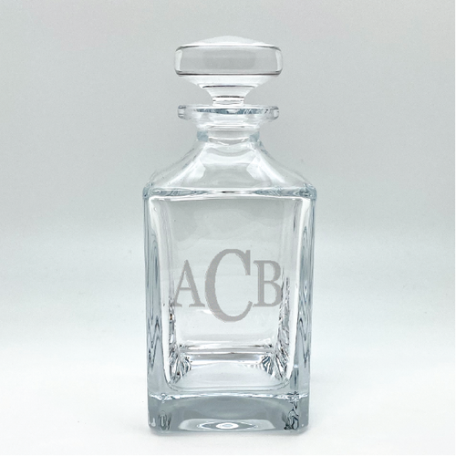 Monogrammed Crystal Liquor Decanter | Abino Mills Glassworks