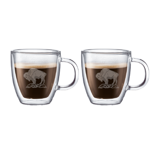Buffalo Double Wall Glass Mugs (pair)