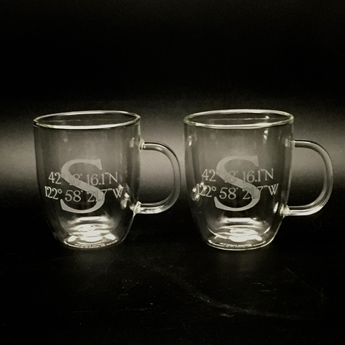 Initial and Coordinates Double Wall Mugs (pair)