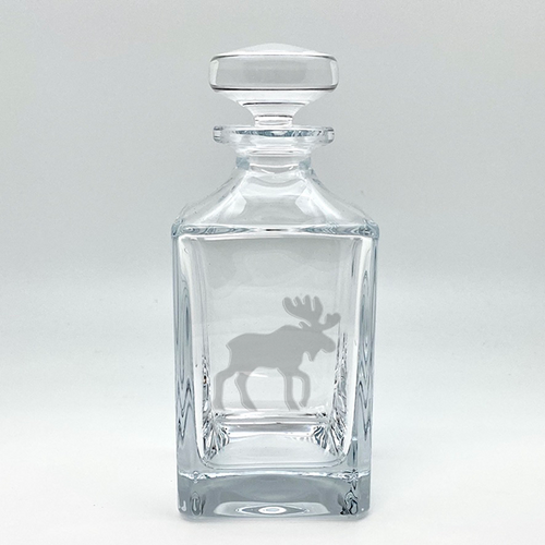 Northern Collection- Crystal Square Spirits Decanter- Moose