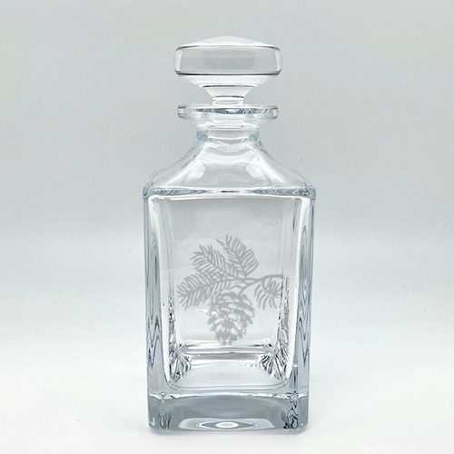 Northern Collection- Crystal Square Spirits Decanter- Pine Cone