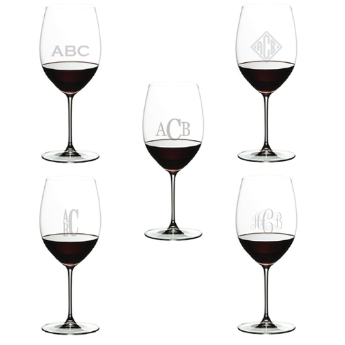 Riedel Veritas Monogrammed Wine Glasses