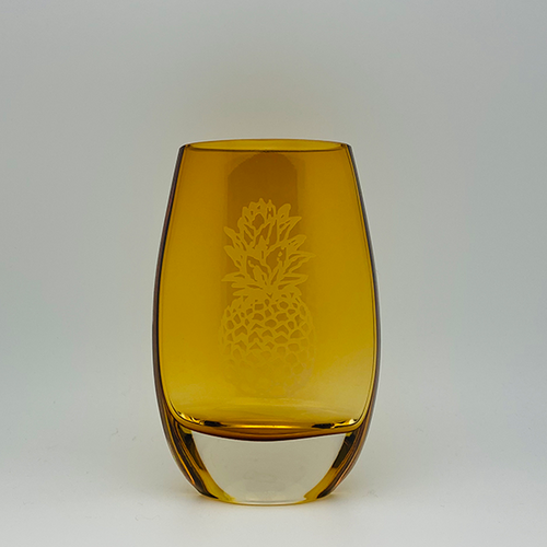 Porter Vase Amber with Pineapple