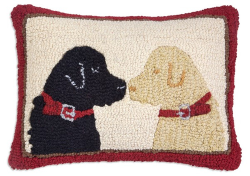Pet Lovers Two Labs - Hooked Wool Pillow