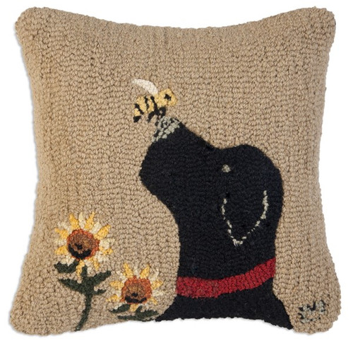 Lab with Bee - Hooked Wool Pillow