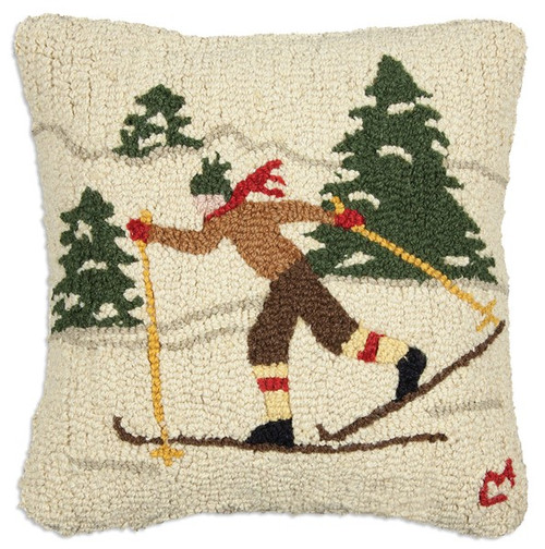 Cross Country Winter Skier - Hooked Wool Pillow