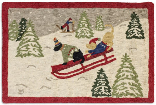 Sledding Hill and Skier - Hooked Wool Rug