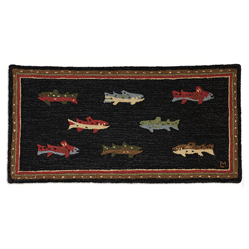 River Fish- Hooked Wool Rug
